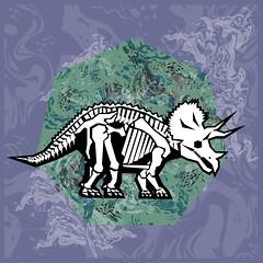 Triceratops Fossil (Chobopop) Tags: fossil skull design graphics pattern dino dinosaur character bones marble prehistoric vector jurassic nineties 1990s 90s triceratops chobopop society6
