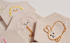 Embroidered hexies (saysie) Tags: spring needlework linen embroidery stitching hexagons wildolive