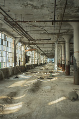 An Uneven Walk (IAmTheSoundman) Tags: wood ohio urban white building abandoned industrial factory jake floor dove exploring cleveland whale mattress bowing 28mmtakumar barshick bukling jakebarshick