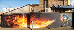 Camden Street Art (Mabacam) Tags: streetart london graffiti camden flames wallart urbanart irony burned spraycan 2015