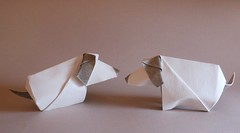 Petits chiens copains/ Puppies friends (Viviane des Papiers) Tags: origamidog vivianeberty