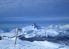 Cloud strata above the Black Tusk (Ruth and Dave) Tags: sky mountain weather clouds whistler volcano peak alpine signpost blacktusk tusk whistlerblackcomb garibaldiprovincialpark whistlerpeak weatherphotography