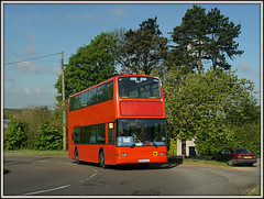 Hunter's T102 KLD (Jason 87030) Tags: camera morning school trees red sky sun green car kids children flickr village view shot tag transport northamptonshire may picture scene pole fave views alpha amateur telegraph bizarre northants doubledecker hunters 2016 daventry braunston ilce eductaion sonya6000