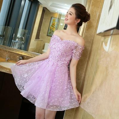 Bridesmaid dress short 2016 new one shoulder purple