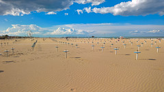 Rimini (Marco La Rosa) Tags: sea sky italy panorama beach clouds umbrella landscape sand italia nuvole mare view rimini emilia cielo vista bagno lungomare ombrelloni spiaggia lido sabbia romagna litorale