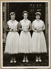 Bridesmaids (1957) (The Wright Archive) Tags: wedding ladies church st vintage fifties 21 hilary harry saturday september bridesmaids 1950s bridesmaid end 1957 wright jamess beckenham elmers 50's holeman wrightarchive br34hf