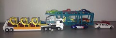 Loaded Trucks (austinmini1275) Tags: cars scale car truck toy toys semi lorry hotwheels rig 164 trucks artic mattel articulated matchbox forklift carcarrier lorries tractortrailer diecast hauler autocarrier 164th forktruck towmotor