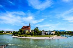 Laufen, Germany (Thomas Diabl) Tags: sky church skyline clouds river germany landscape deutschland austria sterreich landschaft laufen salzach oberndorf