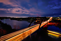 Long look at the lights (Jim Nix / Nomadic Pursuits) Tags: longexposure travel austin photography twilight nikon dreamy lighttrails bluehour lightroom lakeaustin loop360 pennybackerbridge loop360bridge d700 nomadicpursuits macphun jimnix aurorahdrpro