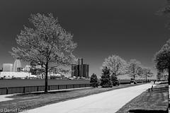 Electric Spring (danfryer2) Tags: blackandwhite spring detroit windsor detroitriver rencen detroitskyline gmbuilding detroitriverfront windsorwaterfront