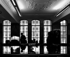 Manchester Unity Building Board Room (phunnyfotos) Tags: phunnyfotos australia victoria vic melbourne bw mono monotone silhouette people boardroom table reflections reflection window windows view 1932 artdeco deco manchesterunitybuilding architecture building interior inside marcusbarlow plaster collinsstreet