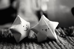 TOGETHER AGAIN!!! (jeremiahwilson) Tags: life friends light blackandwhite bw art love smile contrast stars happy photography blackwhite origami warm dof bokeh story