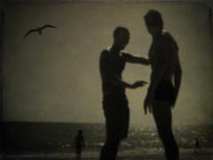 Handsome men are slightly sunburnt (P. Correia) Tags: 2005 beach portugal seagull algarve vilamoura quarteira pcorreia standingonthebeach zorancoach10 frankronan