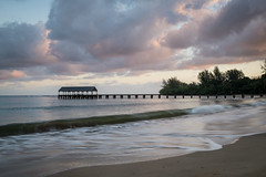 Sunrise at Hanalei Bay (Jeremy Duguid) Tags: ocean morning travel sea summer west nature clouds sunrise landscape dawn hawaii bay coast pier pacific sony jeremy coastal kauai cloudscape hanalei duguid a7r2