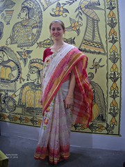 Red and white sari for Bengali New Year (karlahovde) Tags: new travel party people holiday art painting mural traditional year celebration blockprint saree sari bangladesh bengali