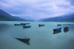 Some do not last the distance, Lake Phewa, Pokhara   (PsJeremy) Tags: blue nepal rain misty foggy sunk lakephewa pokhara sinking drizzle  scuttled