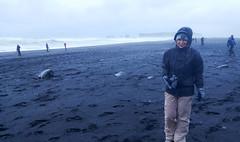 Freezing on Reynisfjara Beach (the tinz) Tags: iceland south coast southcoast black sand beach spray basalt column
