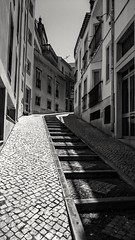 Step into Lagos (kellylwood81) Tags: building blackandwhite city landscape monochrome path steps stones stairs street sony tourist windows xperia portugal lagos algarve alley