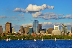 Downtown Boston Across The River ((Jessica)) Tags: blue summer sky cloud water boston skyline buildings river boats downtown skyscrapers charlesriver sunny sailboats beaconhill
