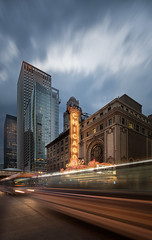 CHICAGO (Nenad Spasojevic) Tags: city longexposure sunset usa chicago storm clouds canon buildings illinois downtown exploring il chi citylights lighttrails bluehour drama statestreet theather 2016 sonyalpha nenadspasojevic