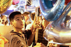 Love Balloons (Marc Molenaar) Tags: street city night balloons asia bokeh streetphotography vietnam vendor nightlife hanoi oldquarter saleman