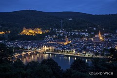Heidelberg (Rolandito.) Tags: blue night river germany deutschland evening abend nacht hour alemania heidelberg schloss fluss allemagne neckar germania blaue philosophenweg stunde