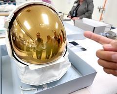 Lunar Poke - Neil Armstrong's Helmet (jurvetson) Tags: museum gold smithsonian tour space air helmet neil ev national hazy armstrong visor nasm