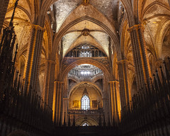 Cathedral of the Holy Cross and Saint Eulalia (James*J) Tags: barcelona old roof light sun church window saint spain europe catholic cross cathedral roman religion gothic ceiling christian holy indoors quarter block christianity pillars spikes gotic eulalia 1519 catalona