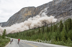 Major Rockslide - Icefields Parkway July 17th- 2013 (Remco Ophof) Tags: trees canada mountains clouds rocks rocky boulders lucky rockymountains dust slope instability remco avalanche rockslide ophof remcoophof