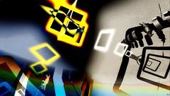 Flying cow  falling man / Artist : Eupalinos Ugajin (Bamboo Barnes - Artist.Com) Tags: blue light shadow red man green art yellow cow photo digitalart vivid surreal secondlife installation lea virtualart eupalinosugajin bamboobarnes gravityisamistake