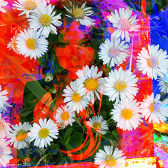 Flower Power (Lemon~art) Tags: blue red white flower colour texture mannequin daisies power manipulation attitude flowerpower