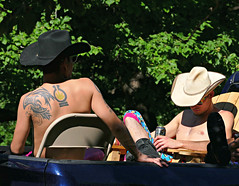A Couple of Cowboys (Colorado Sands) Tags: gay shirtless usa man male men tattoo cowboys america festive us colorado guys denver parade celebration lgbt tat tats tatouage 2016 pridefest cheesmanpark gaycowboys bodyink gaycommunity westernhats happypride sandraleidholdt denverpride denverpridefest pridefest2016