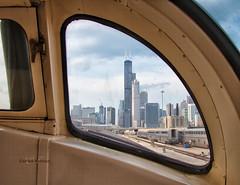 The Hoosier State View (Wheelnrail) Tags: chicago railroad hoosier state iowa pacific passenger train full length dome car locomotive coach amtrak sears tower window skyline
