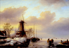 North Holland Windmills -- about 1850 (JFGryphon) Tags: haarlem 1850 winterlandscape teylersmuseum northholland hww janjacobspohler