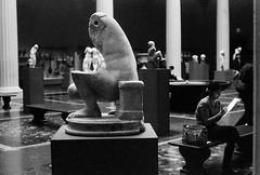 Bigfoot and the student (Nesster) Tags: november takumar 400 met smc 800 2009 metropolitanmuseumofart foma 5014 fomapan esii