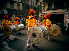 Ganesh Wisarjan Dhol pathak.. (PhotoScientist) Tags: street old travel color history classic colors bike religious dance colorful dancing display sony traditional faith religion culture historic together pointandshoot tradition hinduism pune icapture dholpathak wx50 sonywx50