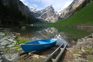 a blue boat @ seealpsee . appenzell innerrhoden . switzerland