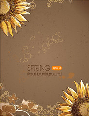 floral backgRetro Sunflower vector backgroundround vector illustration (vectorbackground) Tags: old brown flower art nature floral beautiful illustration ink design artwork graphic background grunge dirty cardboard card frame letter backdrop folded draw ornate manuscript greeting inkpen isolated element handdrawn blooming fashioned