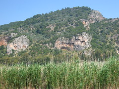 Lycian tombs cut from rock, circa 400 BC (Radu Bucuta) Tags: holiday turkey easter tombs dalyan lycian 2013 turcia
