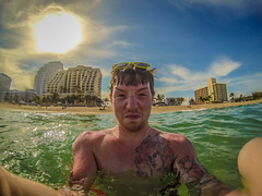 me (Nathaniel Yelton) Tags: ocean sea sun me colors sunglasses tan tattoos hdr selfie tats gopro hero3