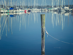 I (ShrubMonkey (Julian Heritage)) Tags: reflection water pool marina boats still post harbour rope calm yachts nautical tranquil chichester moored birdham