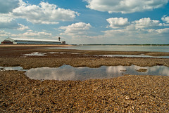Calshot (hutchyp) Tags: sea sky beach water clouds tide low spit hampshire southampton calshot