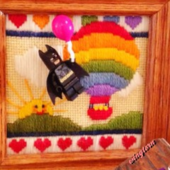 Lighten Up, Batman! (wingtorn) Tags: man art sunshine dark diy dc crossstitch lego crafts nolan crochet group hell balloon bat flight christopher kitty helium frame superhero batman knight cape minifig float bale crusader grapple minifigure blok wingtorn uploaded:by=flickrmobile flickriosapp:filter=nofilter