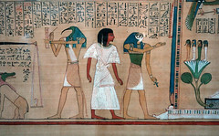 Hunefer's Book of the Dead, detail with Thoth, Hunefer and Horus