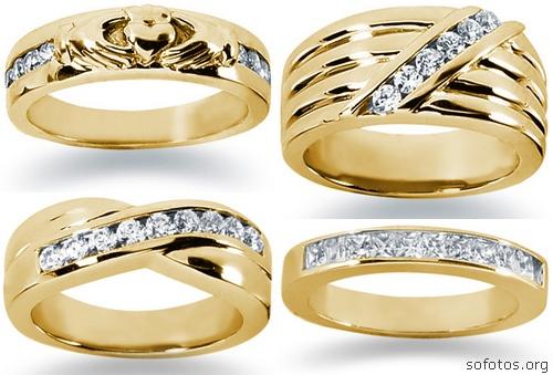 Alianças de casamento de ouro e diamante