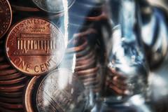 e pluribus unum (hbmike2000) Tags: sunlight macro reflection glass metal closeup hope coin nikon glare shine bokeh penny copper jar d200 pennies hdr hoya odc onecent explored timingiseverything bokehthursday hoyacloseuplens hbmike2000 epluribusanum iknewpenniesweregoodforsomething