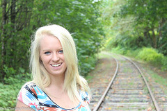 Georgia (Brad Darling Photography) Tags: trees portrait nature girl beautiful forest canon photography photo eyes friend photos blueeyes traintracks picture portraiture blonde