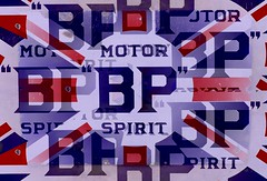 Classic BP vintage Logo (cityspottermus) Tags: blue red white reflection vintage holidays spirit somerset caves illusion motor bp unionjack fuel wookeyhole wookey 2013
