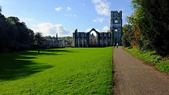 Fountains Abbey (wivvy is getting there.) Tags: sky sun abbey shadows path parks fountainsabbey studleyroyal x100s