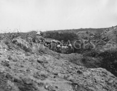 WWI0099B1 (ww1images) Tags: observation soldier hole post telephone brodie helmet shell cable trench binoculars bunker british shelter dugout troops officer position communications sandbag tunic allied